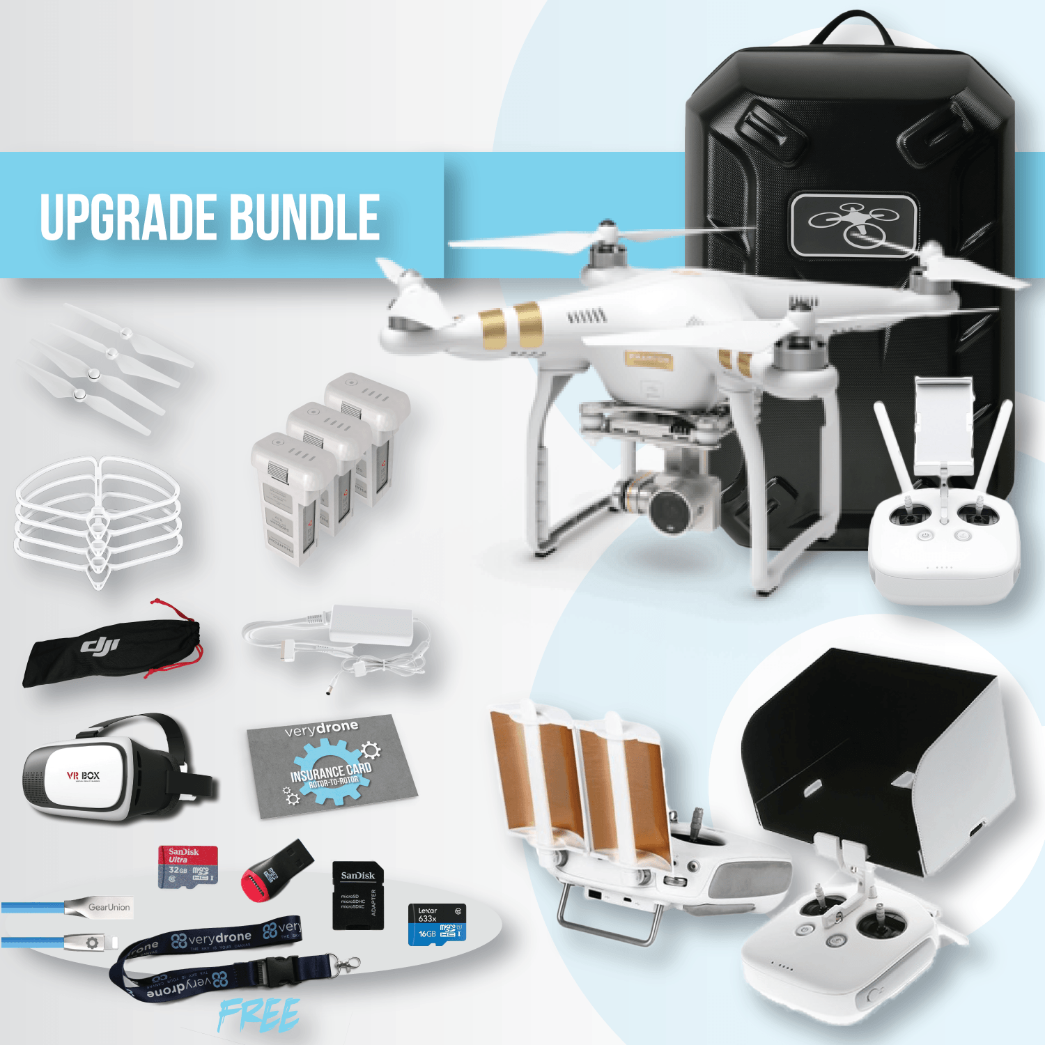 kit-free-verydrone-Bundle-product-P3-pro-battery-backpack-remote