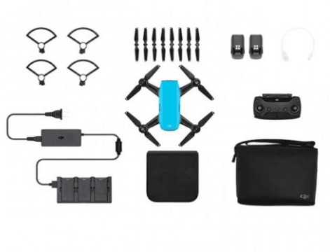 Sky Blue DJI Spark Mini Drone Fly More Combo, Remote & Accessories