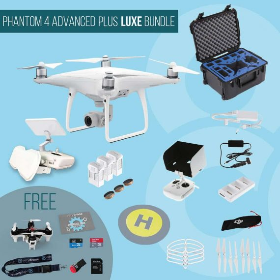 DJI Phantom 4 Advanced with remote controller with screen – Luxe Bundle insured