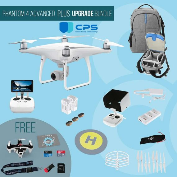 DJI Phantom 4 Advanced with remote controller with screen – Upgrade Bundle insured