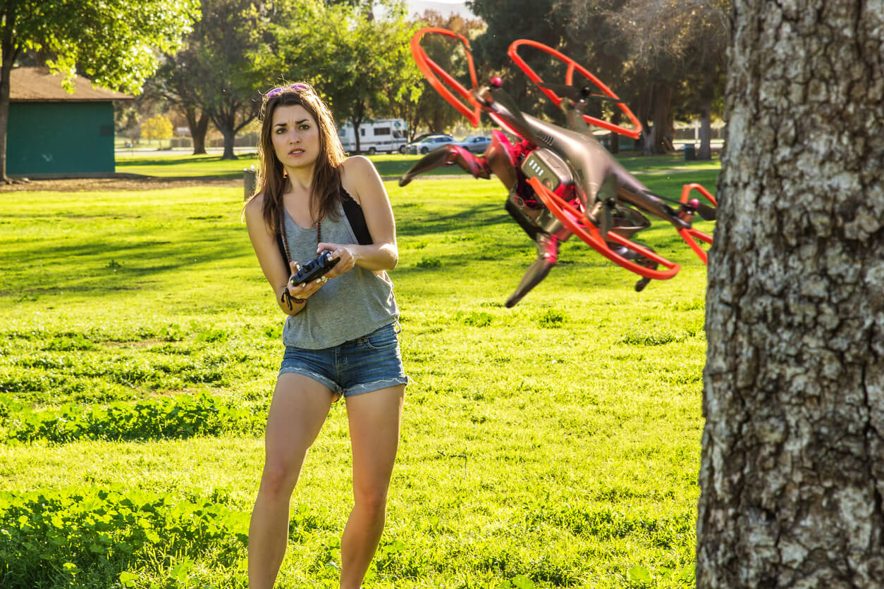 Drone Crashing into a Tree